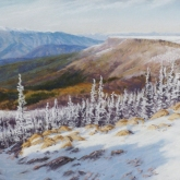 Early Snow on Table Mountain (Lion's Rock), pastel on prepared paper, 11 x 15.25 inches [sold]