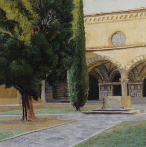 Green Cloister, Santa Maria Novella; 2015, pastel, 13 x 13 in. [$450]