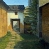 Alley in Jiu'xian, oil on canvas, 12 x 12 inches [$350]