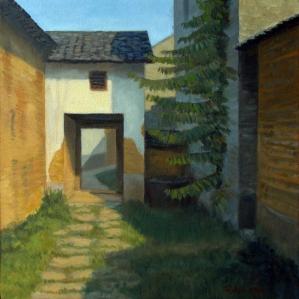 Alley in Jiu'xian, 2014, oil on canvas, 12 x 12 in. [$350]