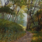 In the Cottonwoods (Ringer Landing), pastel on prepared paper, 11 x 15.25 inches [$400]