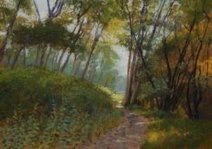 In the Cottonwoods (Ringer Landing), 2015, pastel, 11 x 15.25 in. [$400] (WP)