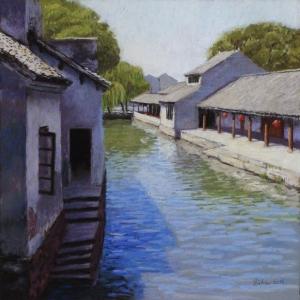 Jinxi Canal, 2015, pastel, 13 x 13 in. [$400] (WP)