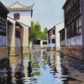 Jinxi Canal I, pastel on prepared paper, 13 x 13 inches [$400]