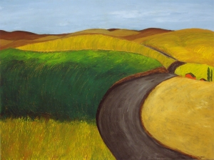 Palouse Farmstead, 2015,  acrylic on canvas, 30 x 40 in.  [$750]