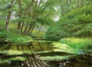 Turtle Pond, 2015, pastel, 11 x 15.25 in. [$400]