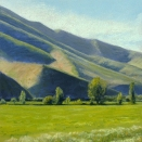 Across Eaton's Pasture II, pastel on prepared paper, 7.25 x 7.25 inches [sold]