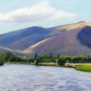 The River at Burbank Creek, pastel on prepared paper, 5.5 x 28.75 inches [sold]