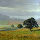 Lowlands Sunshower (Scotland), pastel on prepared paper, 9.25 x 9.25 inches [sold]