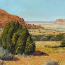 Navajo Rocks above Moab, pastel on prepared paper, 10 x 28.5 inches [$850]