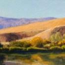 Still Morning, Roza Landing; pastel on prepared paper, 5.5 x 28.75 inches [$800]