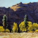 Umtanum Cliffs, pastel on prepared paper, 9.25 x 9.25 inches [$350]