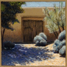 Abiquiu Door, walnut ink and pastel on tan paper, 5.5 x 5.5 inches [sold]