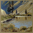 At Bighorn Landing, walnut ink and pastel on tan paper, 5.5 x 5.5 inches [sold]