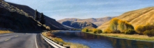 Autumn Morning near Umtanum Creek, pastel on prepared paper, 10 x 28.75 inches [sold]