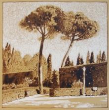 Boboli Gardens I, walnut ink and pastel on tan paper, 7 x 7 inches [$200]