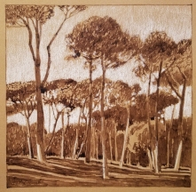 Borghese Gardens, walnut ink and pastel on tan paper, 7 x 7 inches [$200]