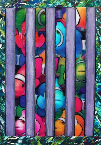 Caged Clowns, acrylic on Yupo with lenticular image, 14.75 x 11 inches [sold]