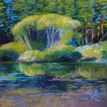 Cranberry Lake II, oil pastel on paper, 8 x 8 inches [sold]