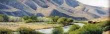 Spring near Lmuma Creek, pastel on prepared paper, 10 x 28.75 inches [$900]