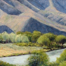 Spring near Lmuma Creek, pastel on prepared paper, 10 x 28.75 inches [$900]