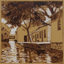 Jinxi Canal III, walnut ink and pastel on tan paper, 5.5 x 5.5 inches [$150]