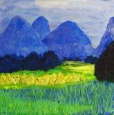 Jiu'xian Rice Fields, acrylic on canvas, 12 x 12 inches [$300]