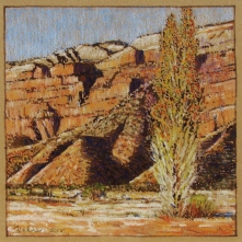 Moab Rim at Spanish Valley, walnut in and pastel on tan paper, 5.5 x 5.5 inches [$150]