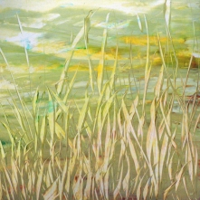 Native Grasses Around the Pond, acrylic on Yupo, 12.5 x 12.5 inches [sold]