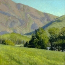 Near Mount Baldy, pastel on prepared paper, 7.25 x 7.25 inches [sold]