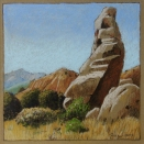 On the Turquoise Trail, walnut ink and pastel on tan paper, 5.5 x 5.5 inches [sold]