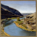 South End of the Canyon, walnut ink and pastel on tan paper, 5.5 x 5.5 inches [sold]
