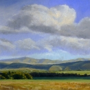 Spring Clouds Over the Ridges, pastel on prepared paper,, 9.25 x 9.25 inches [sold]
