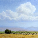 Summer Clouds Over the Wenatchees, pastel on prepared paper, 7.25 x 7.25 inches [sold]