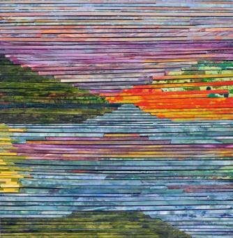 Sunset Jazz, acrylic on Yupo, 12.5 x 12.5 inches [$600]