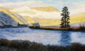 Winter Morning at Horseshoe Bend, pastel on prepared paper, 13 x 21 inches [$400]