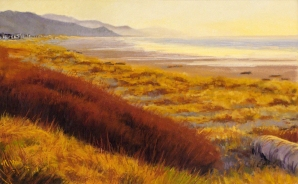 Winter Sunset on Manzanita Beach, pastel on prepared paper, 13 x 21 inches [sold]