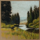 Woods River, walnut ink and pastel on tan paper, 5.5 x 5.5 inches [sold]