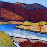 Yakima Canyon, acrylic and collage on panel, 12 x 12 inches [$275]