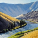 Yakima River Below Roza Dam, pastel on prepared paper, 13.75 x 13.75 inches [sold]