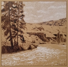 Yakima River, walnut ink and color pencil on tan paper [$200]