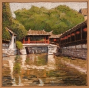 Zhou Gong Bridge, Jinxi; walnut ink and pastel on tan paper, 5.5 x 5.5 inches [$150]